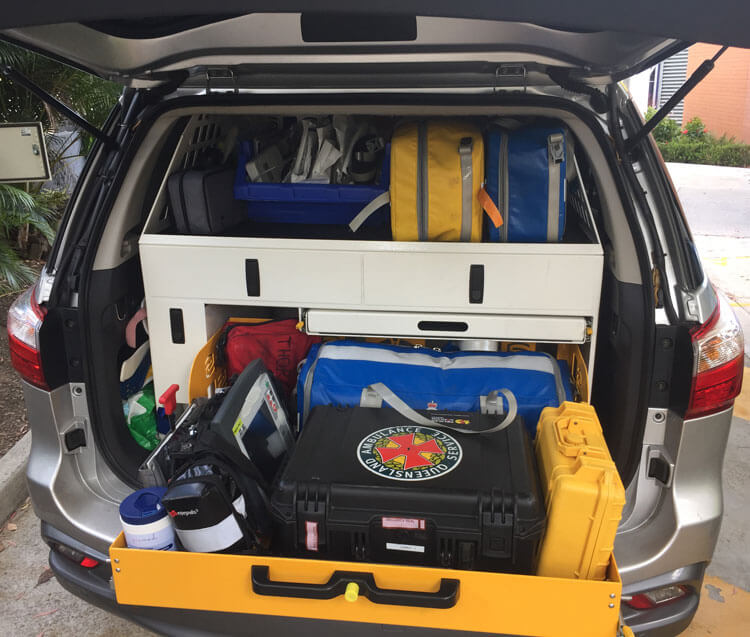 Queensland Ambulance Service HARU rig showing the back of an SUV open to reveal the Pelican case containing prehospital blood