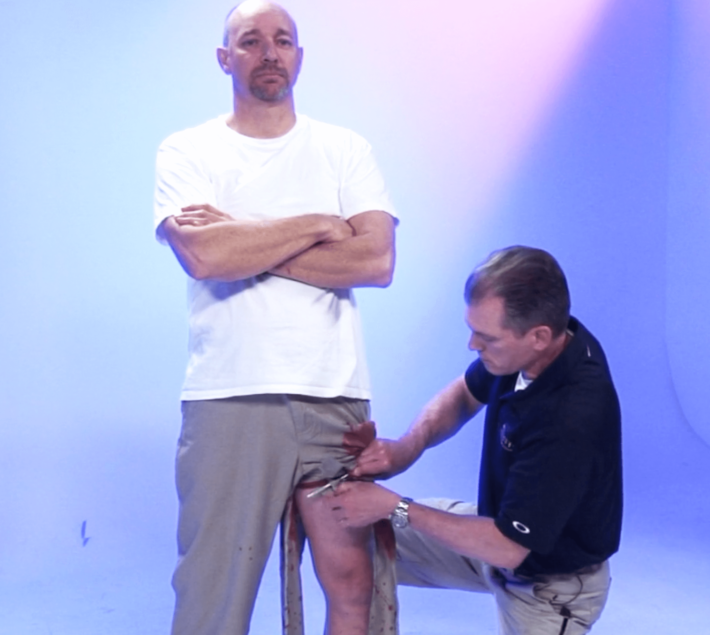 Dr. Shertz turns a stoic casualty's own pants into a doppler-proven tourniquet