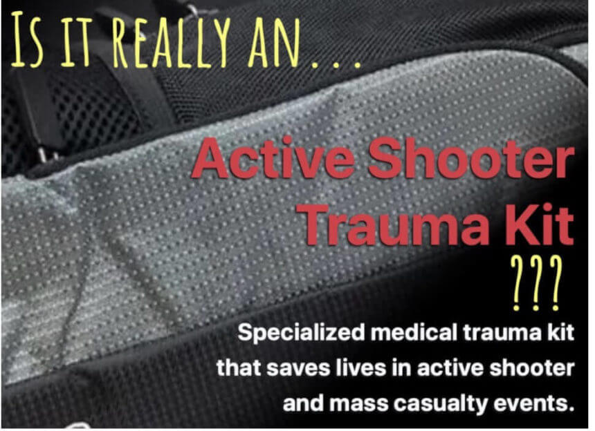 "an advertisement from a medical supply company for their so-called active shooter kit, we pose the question, ""is it really?"""