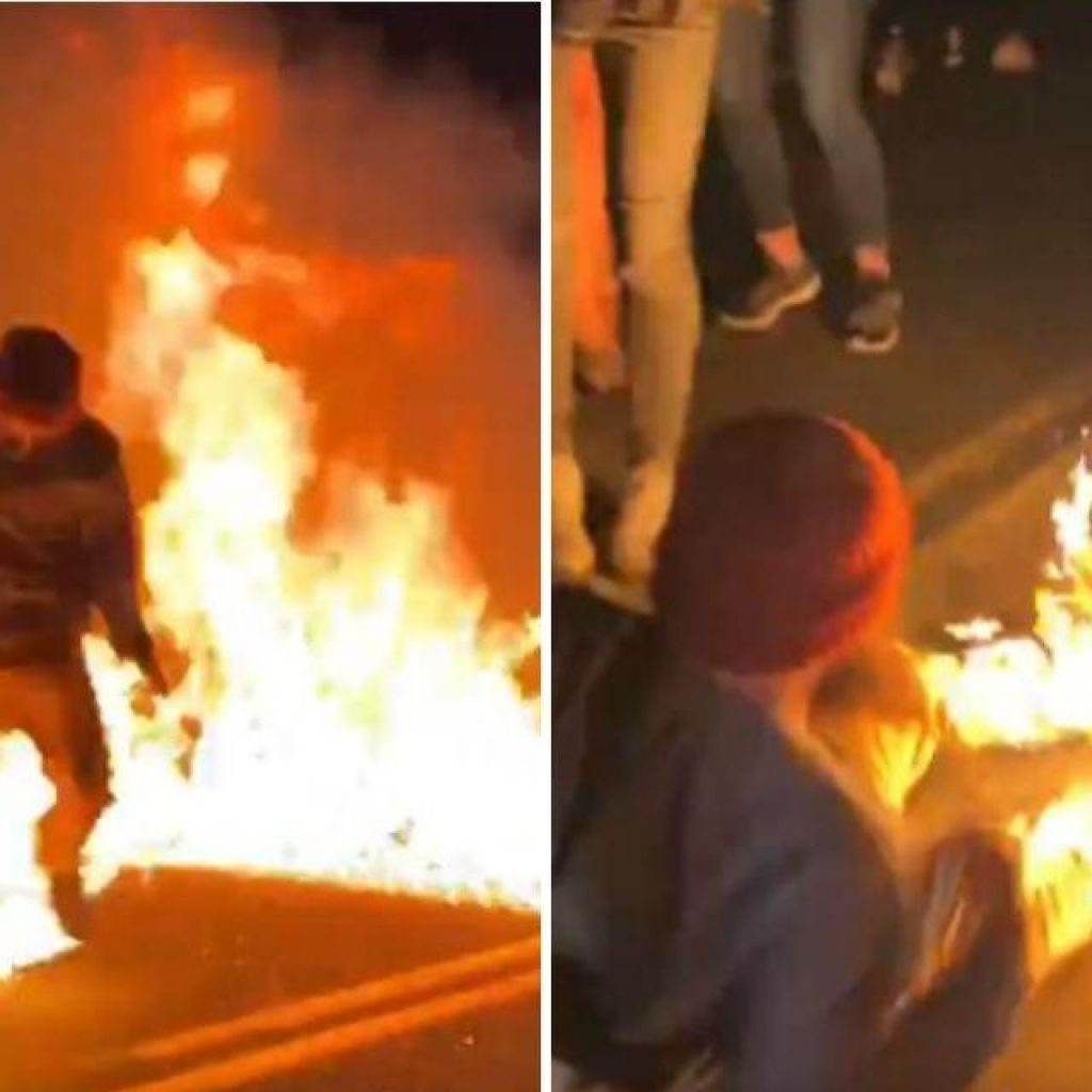 Twitter Portland rioter sets himself on fire